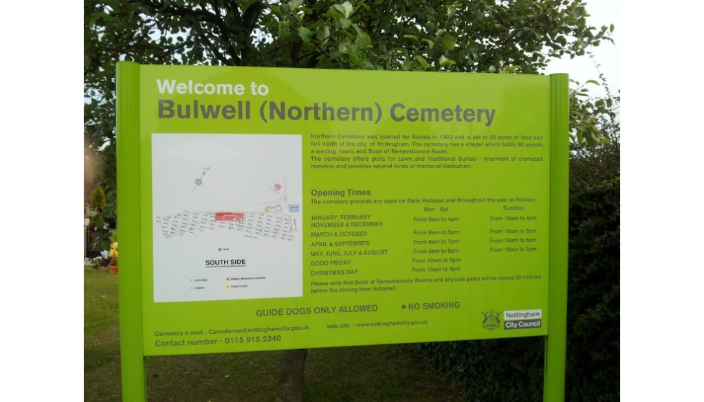 Bulwell northern cemetery post plank Nottingham city council sign Viewtec signs