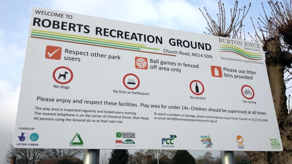 Roberts recreation ground burton joyce parish council Viewtec signs